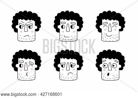 Unshaven Man Face Expression. Guy Face Different