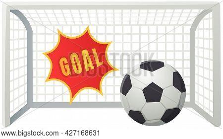 Soccer Goal With Ball Sport Vector Illustration With Cartoon Text Speech Bubble Balloon, Football. L