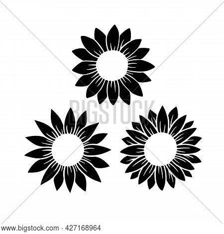 Sunflower Split Monogram Set. Flower Silhouette Vector Illustration. Sunflower Graphic Logo Collecti