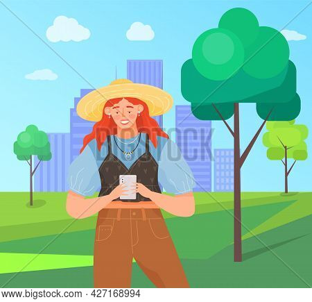 Woman With Smartphone Is Communicating On City Park Background. Female Character Using Mobile Device