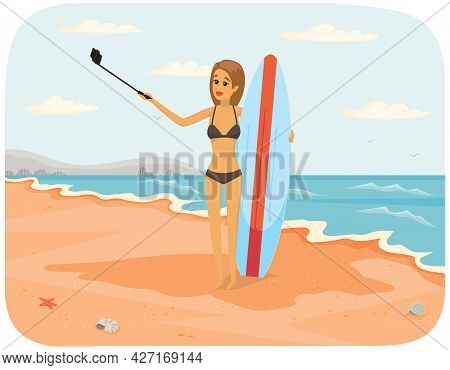 Girl Is Having Summer Vacation And Surfing. Woman In Swimsuit Is Photographed On Phone Camera. Lady
