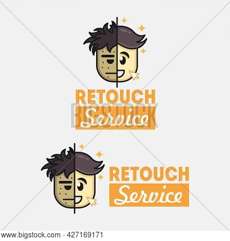 Two Happy Sad Emoticon Face Logo Icon. Vector Logo Design Template For Photos Retouching. Vector Log