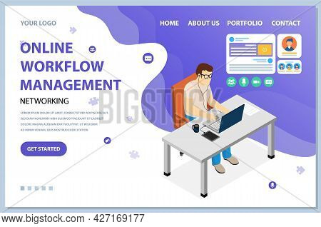 Online Orkflow Management, Planning Theme Website Landing Page Template. Programmer Working On Netwo