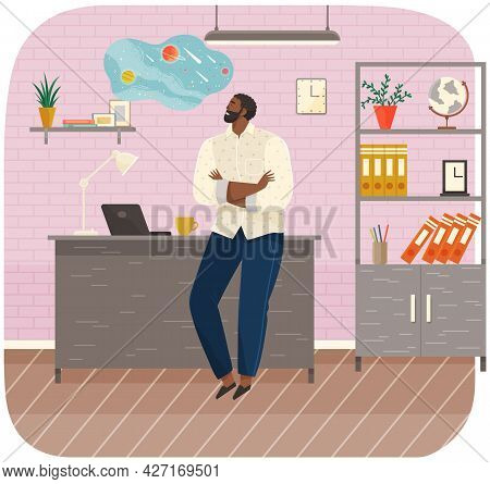 Office Worker Standing Next To Table With Laptop. Businessman Or Clerk Working At His Office Workpla