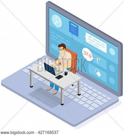 Office Worker Male Character Sitting At Table With Computer Working With Online Medical Application