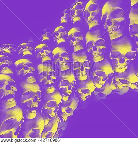 Pillar Of Cartoon Skulls In Protest Art Poster Style. Modern Grunge Concept Design. Fantasy Art Back