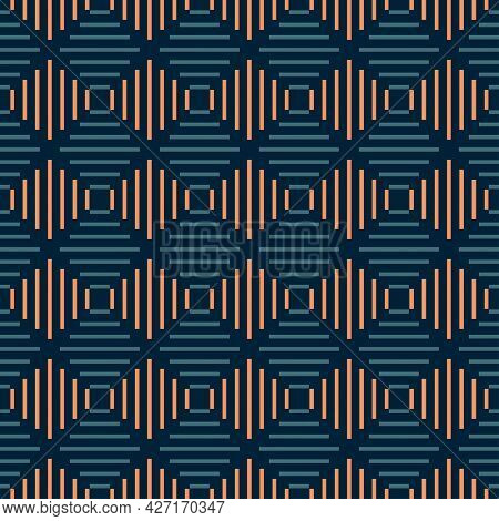 Seamless Diamond Stripes Vibrant Contrast Teal And Orange Pattern Vector Background