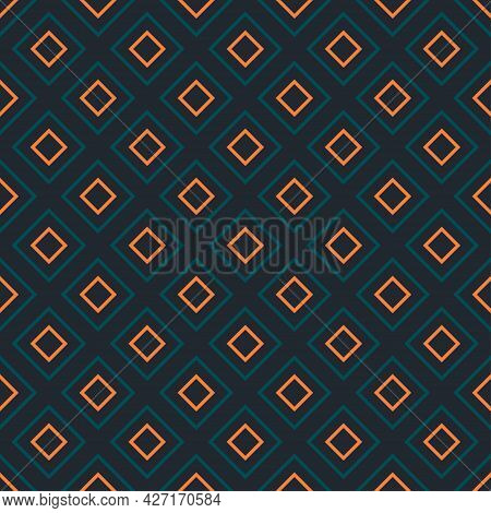 Seamless Diamond Vibrant Contrast Teal And Orange Pattern Vector Background