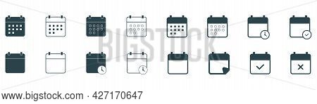 Calendar Set. Isolated Calendar Icons. Diary Pictogram. Outline And Filled Vector. Reminder Symbol I