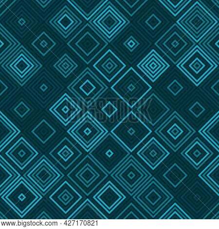 Seamless Diamond Vibrant Toned Teal Pattern Vector Background