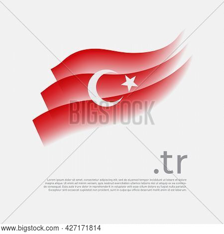 Turkey Flag Watercolor. Colored Stripes Turkish Flag On A White Background. Vector Stylized Design O