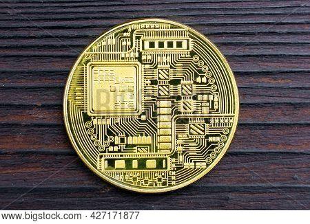 Blockchain Technology. Crypto Coin Of Gold Color. Satoshi. Souvenir Bitcoin Coin