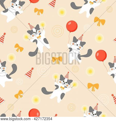 Seamless Pattern With Cute, Colorful, Festive Kittens With Balloons.