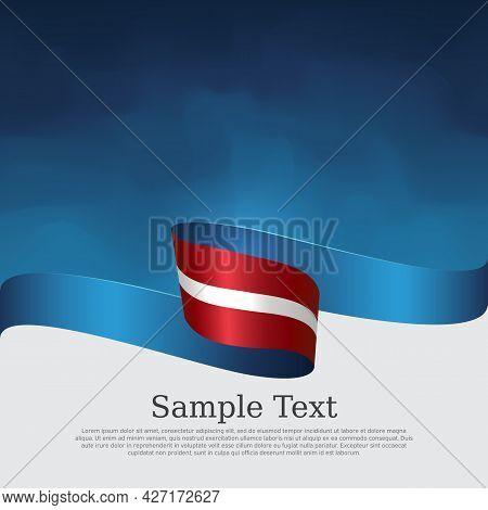 Latvia Flag Background. Latvian Flag Wavy Ribbon On Blue White Background. National Patriotic Poster