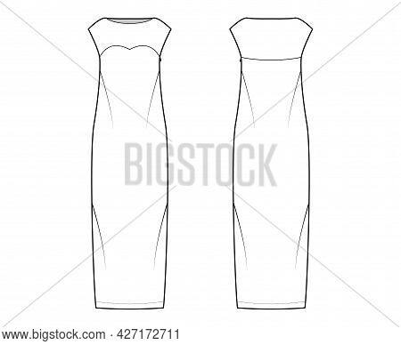 Dress Column Technical Fashion Illustration With Long Sleeves, Sleeveless, Fitted Body, Floor Maxi L