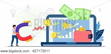Website Monetization Concept Vector Illustration Earn Money Online Blog Content And Generating Incom