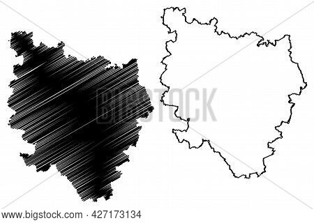 Reutlingen District (federal Republic Of Germany, Rural District, Baden-wurttemberg State) Map Vecto