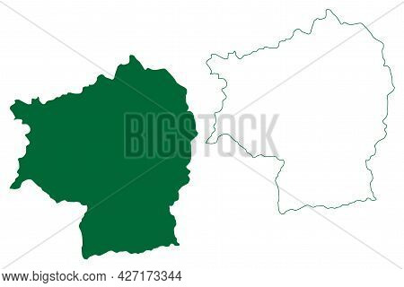 North Sikkim District (sikkim State, Republic Of India) Map Vector Illustration, Scribble Sketch Nor