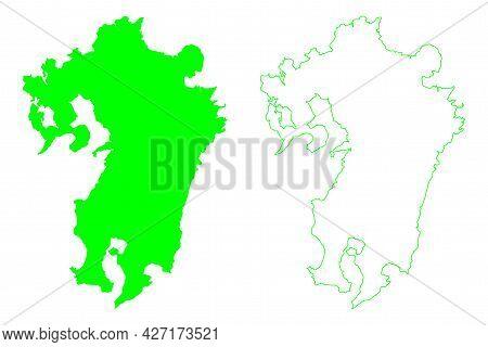 Kyushu Island (japan, East Asia, Japanese Archipelago) Map Vector Illustration, Scribble Sketch Kyus