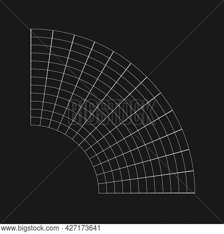 Retrofuturistic Bent Semicircular Grid. Cyber Design Element. Grid In Cyberpunk 80s Style. Cyber Geo