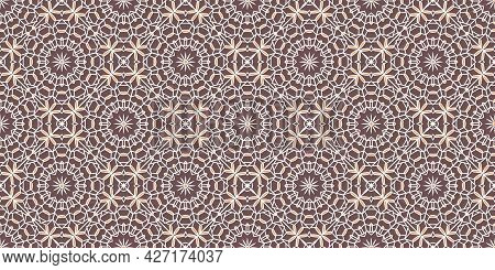 Seamless Texture With Beige Arabic Ornament. Vector Border Pattern