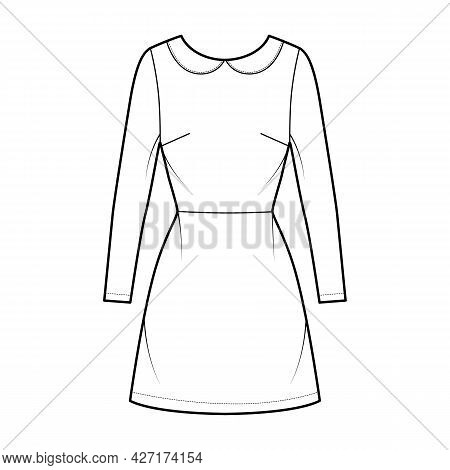 Dress A-line Technical Fashion Illustration With Long Sleeves, Peter Pan Collar, Fitted Body, Above-