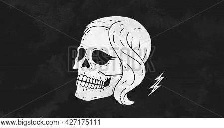 Skull Girl. Poster Of Vintage Skull Woman, Hipster Label, Portrait Girl. Retro Old School Illustrati