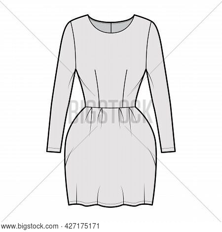 Dress Bell Technical Fashion Illustration With Long Sleeves, Fitted Body, Mini Length Pencil Skirt.