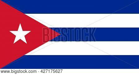 Cuba Flag. Official Colors. Full Size Vector Illustration