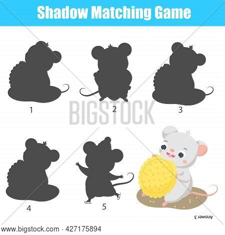 Shadow Matching Game For Children. Find The Right Shadow For Cute Mouse Aet Cookie. Fun Activity For