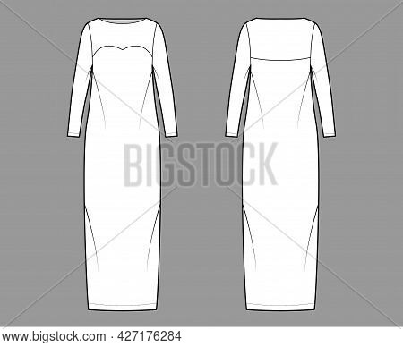 Dress Column Technical Fashion Illustration With Long Sleeves, Fitted Body, Floor Maxi Length Pencil