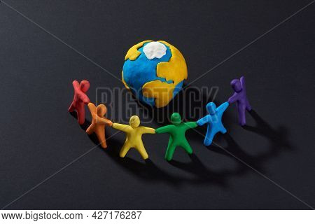 Multicultural People Around Earth. Justice And No Racism Concept. Gender And Racial Equality. Diy. C