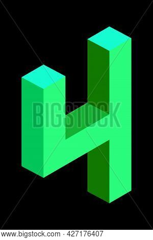 Light Green Number 4 In Isometric Style. Isolated On Black Background. Learning Numbers, Serial Numb