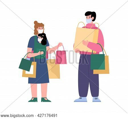 Happy Family Of Shoppers In Facial Masks Hold Lot Of Bags In Hands.