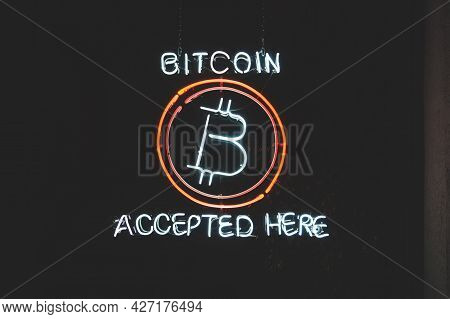 Bitcoin Accepted Here Crypto Led Neon Sign In A Window
