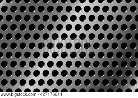 Metal Background With Round Holes. Iron Perforated Plate. Metallic Panel. Vector Illustration.