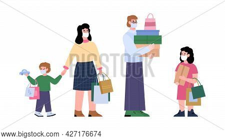 Happy Family Of Shoppers In Protective Facial Masks Shopping At Store Or Mall.