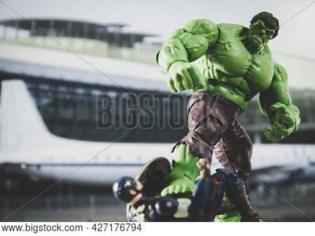 JUNE 12 2021: Scene from Marvel Avengers Civil War, the Incredible Hulk fighting Captain America  - Hasbro action figure