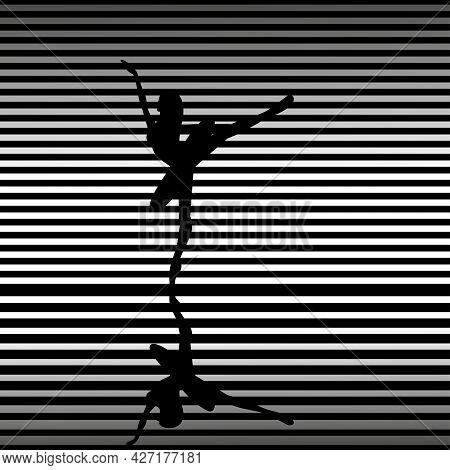 Ballet Dancer Silhouette, Classical Ballet In Flat Style. Vector Illustration.