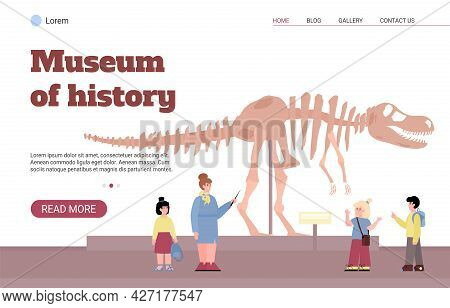 Web Banner For History And Archeology Museum Flat Vector Illustration.