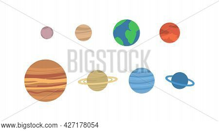 A Set Of Planets Of Solar System Or Space Objects Observed A Vector Illustration