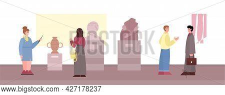 Visitors Of Ancient Art History Museum, Cartoon Flat Vector Illustration.