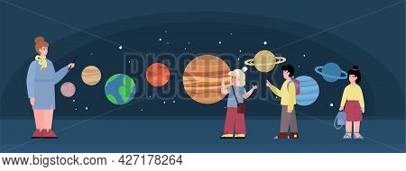 Background With School Children In Planetarium, Flat Vector Illustration.