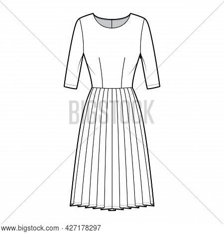 Dress Pleated Technical Fashion Illustration With Elbow Sleeves, Fitted Body, Knee Length Skirt. Fla