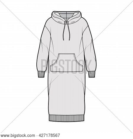 Dress Hoody Technical Fashion Illustration With Long Sleeves, Kangaroo Pouch, Rib Cuff Oversized Bod