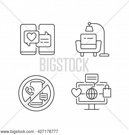 Steps Towards Healthy Living Linear Icons Set. Online Dating. Minimalist Lifestyle. Digital Detox. C