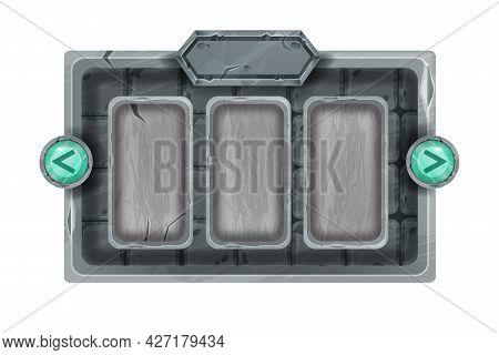Stone Game Frame Vector Illustration, Ui Rpg Rock Menu Panel, Green Crystal Arrow Button On White. G