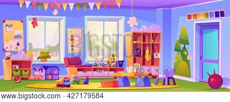 Interior Of Empty Kindergarten Classroom, Room With Toys And Educational Cubes. Education And Obtain