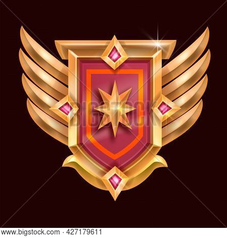 Victory Game Badge Icon, Vector Rank Medal Award, Golden Shield, Wings, Star, Red Crystal. Level Up