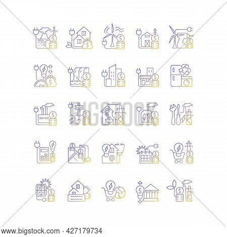 Energy Purchase Linear Icons Set. Alternative Renewable Electric Power Cost. Utility Service Payment
